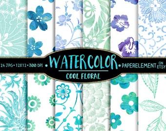 Watercolor Floral Digital Paper: Watercolor Flowers in Ocean Blues, Sea Greens, Soft Purples - Water Color Floral Scrapbook Paper Download