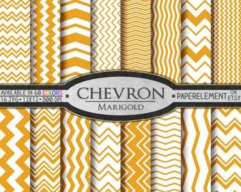 Marigold Orange Chevron Digital Paper Pack - Instant Download - Digital Scrapbook Paper with Chevron Backdrop