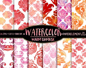 Watercolor Damask Digital Paper Pack - Damask Watercolor Printable Patterns - Colorful Damask Backgrounds with Soft, Delicate Pink and Red