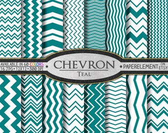 Teal Chevron Backdrop Download: Teal Green Chevron Digital Paper with Dark Cyan Bent Lines - Teal Blue Zigzag Blue Green Chevrons Background