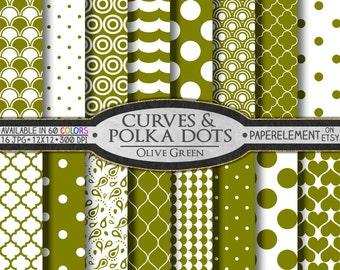 Olive Green Polka Dot Digital Paper - Drab Printable Olive Geometric Patterns with Olive Polka Dot Scrapbook Designs