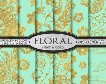 Mint and Gold Digital Paper: Mint and Gold Floral Paper, Mint Floral Digital Paper for Mint Wedding Decor, Mint and Gold Wedding Decorations