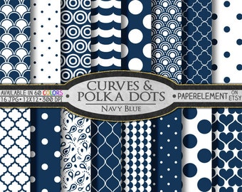 Navy Blue Polka Dot Digital Paper - Printable Navy Blue Geometric Patterns with Navy Polka Dot Scrap Book Backdrop