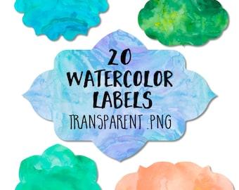 Watercolor Label Clipart: Watercolor Label Clip Art, Watercolor Clipart, Watercolor Clip Art, Watercolor Badges, Digital Labels Overlay Art