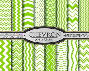 Apple Green Chevron Digital Paper Pack - Instant Download - Digital Scrapbook Paper with Chevron Background
