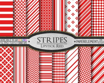 Red Stripe Digital Paper Stripes: Vertical, Nautical, Diagonal, Horizontal Striped Paper - Lipstick Red and White Printable Stripe Backdrops