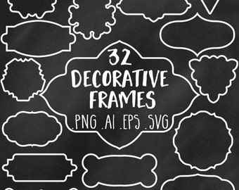 Vector Frame Clipart: Frames Clip Art, Chalk Frame Clipart, Decorative Frame Clipart, Digital Frames, White Frames, Black Frames, Chalk Art