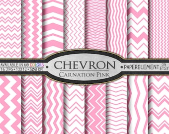 Carnation Pink Chevron Digital Paper Pack - Instant Download - Chevron Paper for Digital Scrapbooking