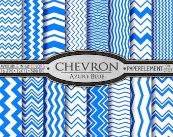 Azure Chevron Digital Paper Pack - Instant Download - Digital Scrapbook Paper with Chevron Background