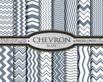 Slate Gray Chevron Digital Paper Pack - Instant Download - Chevron Paper for Digital Scrapbooking