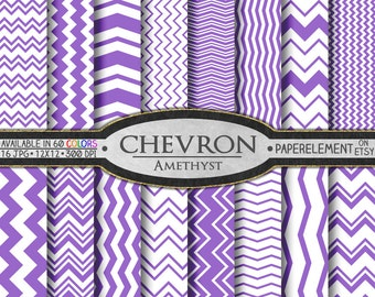 Chevron Digital Paper Pack - Instant Download - Digital Scrapbook Paper with Chevron Backdrop