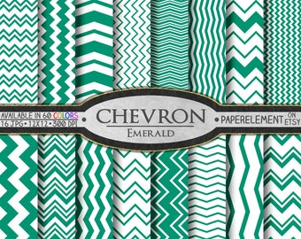 Emerald Green Chevron Digital Paper Pack - Instant Download - Digital Scrapbook Paper with Chevron Backdrop