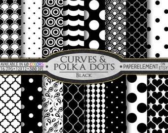 Black Polka Dot Digital Paper: White and Black Digital Paper, Black and White Printable Patterns, Black and White Scrapbook Paper