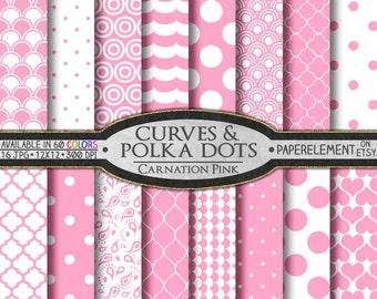 Pink Polka Dot Digital Paper: Pink Digital Download Paper, 12x12 Scrapbook Paper Pink, Carnation Pink Digital Polka Dot Pattern