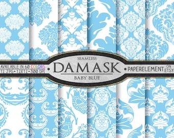 Baby Blue Damask Digital Paper - Pale Blue Damask Background Patterns for Printable Scrapbook Backdrops - Instant Download