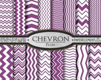 Plum Purple Chevron Digital Paper Pack - Instant Download - Chevron Paper for Digital Scrapbooking