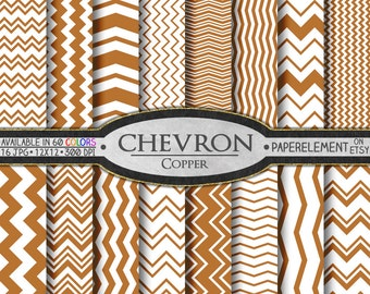 Copper Chevron Digital Paper Pack - Instant Download - Chevron Paper for Digital Scrapbooking