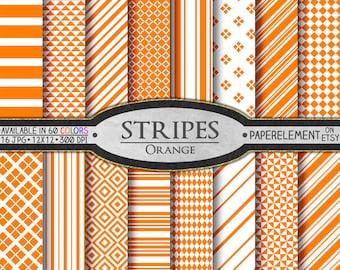 Orange Striped Digital Paper Pack - Instant Download - Stripes and Diamond Patterned Paper for Digital Scrapbooking