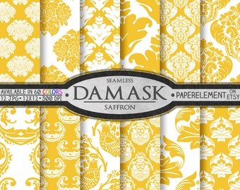 Saffron Yellow Damask Scrapbook Paper Set - Printable Digital Backgrounds - Instant Download
