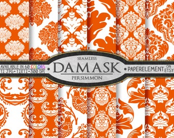 Persimmon Orange Damask Digital Paper Pack - Printable Scrapbook Paper Patterns - Instant Download