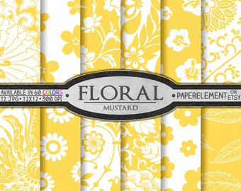 Mustard Yellow Digital Paper: Yellow Floral Digital Paper, Yellow Floral Scrapbook Paper, Digital Pattern Printable Flower Backdrop Download