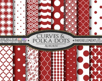 Polka Dot Digital Paper - Red Digital Polka Dots Shapes Backdrop Hearts Background - Useable as Backgrounds for Desktops or Web Sites