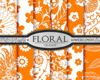Orange Floral Paper: Orange Scrapbook Paper, Orange Floral Digital Paper - Printable Flower Backgrounds