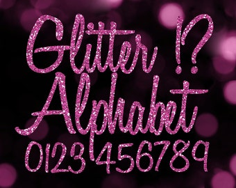 Pink Glitter Alphabet Clipart: Digital Glitter Alphabet Clip Art, Pink Glitter Letters, Large Glitter Letters, Pink Digital Alphabet Letters