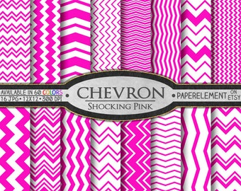 Shocking Pink Digital Chevron Paper Pack - Instant Download - Printable Paper with Chevron Pattern for Digital Scrapbooking