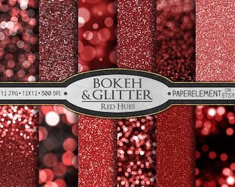Valentines Red Glitter Paper: Red Glitter Digital Paper, Red Bokeh Digital Paper, Red Glitter Backgrounds, Xmas Red Bokeh Prints