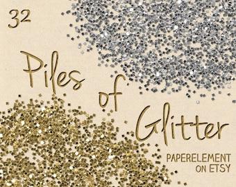 Piles of Glitter: Digital Glitter Download, Glitter Printable, Glitter Gold, Silver Glitter Clipart Download, Digital Gold Glitter Graphics