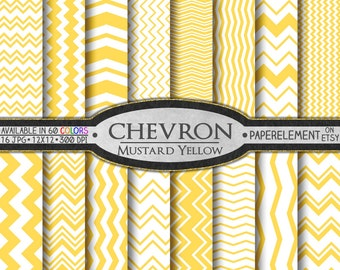 Mustard Yellow Chevron Digital Paper Pack - Instant Download - Chevron Paper for Digital Scrapbooking