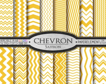 Saffron Chevron Digital Paper Pack - Instant Download - Digital Scrapbook Paper with Chevron Stripe