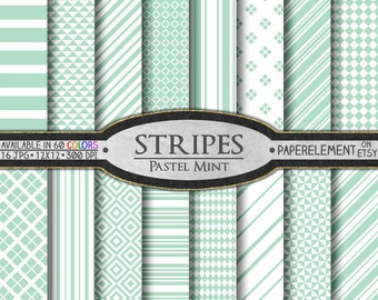 Pastel Mint Green Stripe Digital Paper Pack: Mint Stripes Download, Mint Stripe Paper, Light Mint Stripes Scrapbook Paper, Mint Patterns