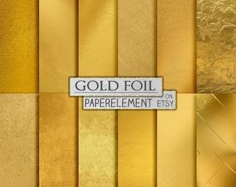 Gold Foil Digital Paper, Metallic Gold Digital Paper, Gold Paper, Gold Backgrounds, Gold Foil Paper, Gold Scrapbook Paper, Instant Download