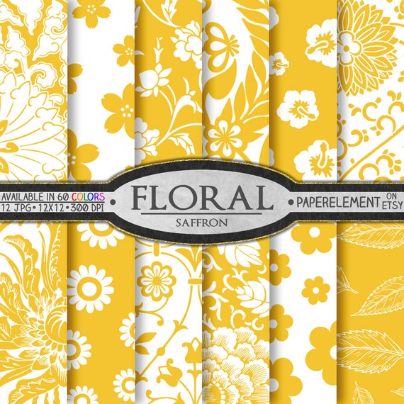 Saffron Yellow Scrapbook Paper Yellow Flower Paper Digital Etsy