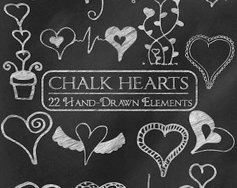Digital Chalk Clipart: Chalk Clip Art, Chalk Heart Doodles, Chalkboard Heart Clipart, Love Clipart, Valentine Chalk Graphics Vector Download