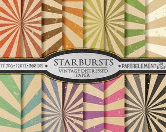 Starburst Digital Paper: Sunburst Digital Paper, Distressed Starburst Patterns, Vintage Starburst Scrapbook Paper, Old Paper Backgrounds