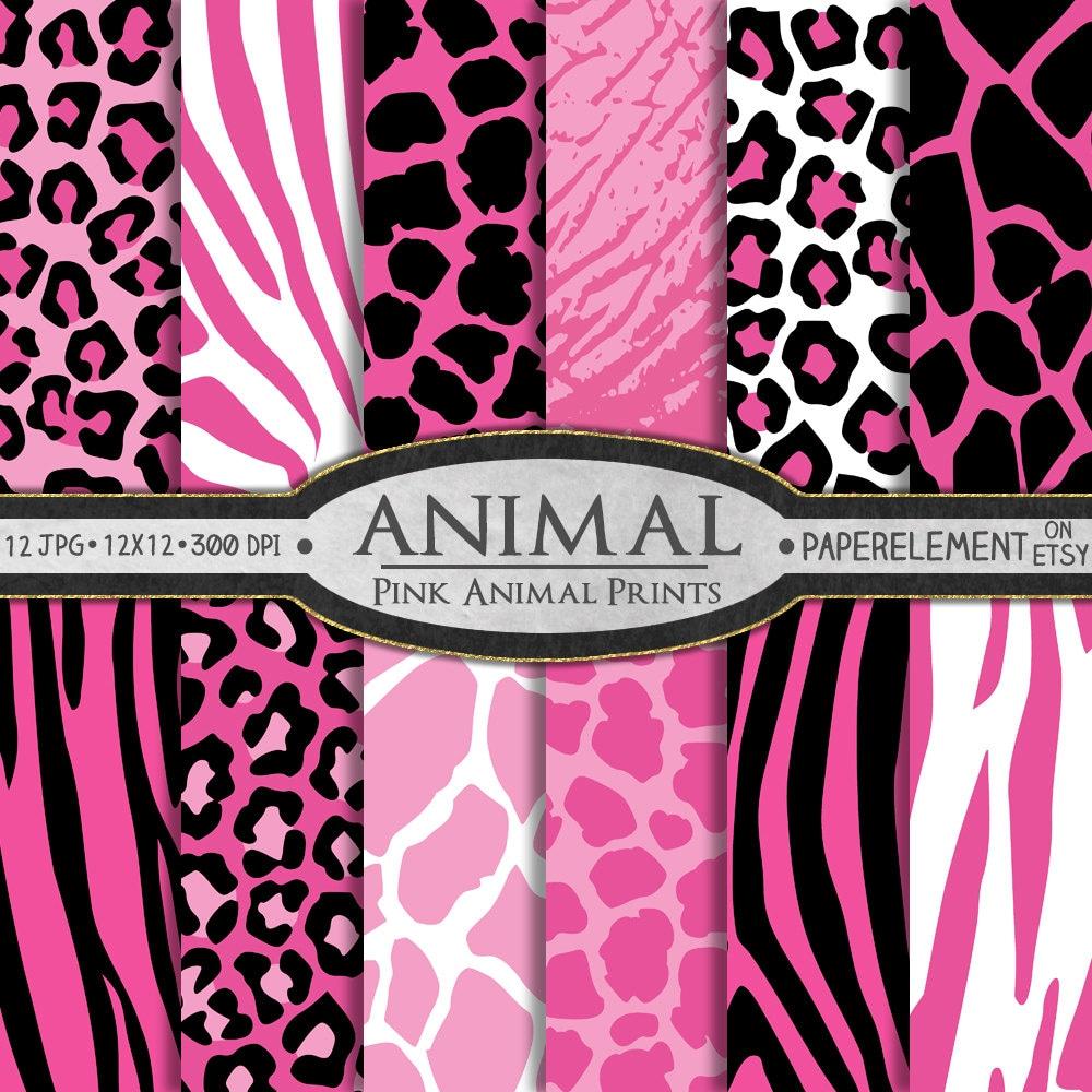 Pink Animal Digital Paper Giraffe Print