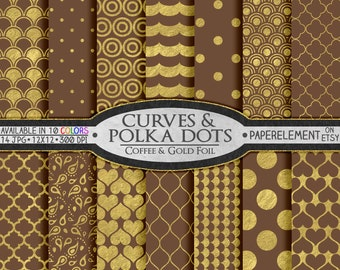 Brown Digital Paper: Brown and Gold Digital Paper - Gold and Brown Digital Paper, Coffee Brown Paper, Gold and Brown Wedding Paper Download