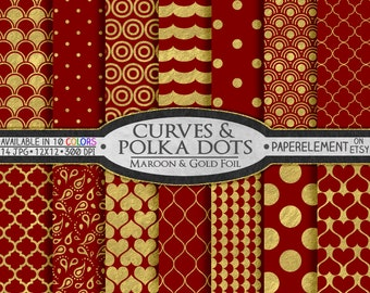 Maroon and Gold Polka Dot Wedding Scrapbook Paper - Metallic Gold Patterns on Printable Maroon Backdrops: Gold and Maroon Digital Background