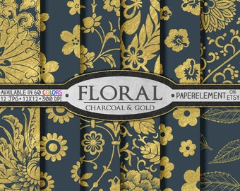 Charcoal Gray and Gold Digital Paper - Gold and Gray Digital Paper - Wedding Floral Scrapbook Background for Graduation and Anniversary