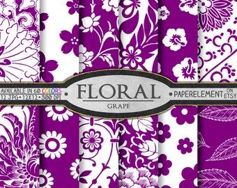 Grape Purple Scrapbook Paper: Purple Floral Scrapbook Paper, Printable Flowers Paper - Instant Download Flower Paper