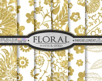 White and Gold Digital Paper: Gold and White Digital Paper, Gold and White Floral Paper, White and Gold Paper, Gold and White Paper Flowers