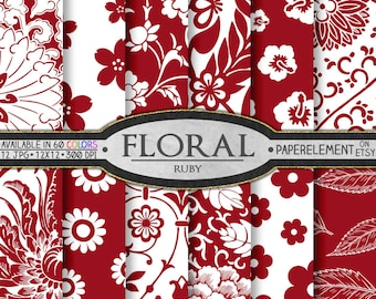 Red Floral Paper: Red Backdrop, Red Floral Backdrop - Ruby Red Floral Scrapbook Paper, Floral Background - Instant Download