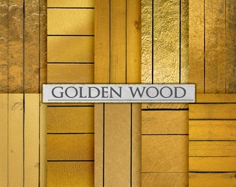Gold Wood Backdrops: Golden Wood Digital Paper, Gold Wood Scrapbook Paper, Gold Wood Backgrounds, Shiny Wood Paper, Gold Wood Planks