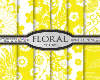 Yellow Flower Digital Paper Pack - Floral Digital Scrapbook Paper - Instant Download Daisy Digital Paper