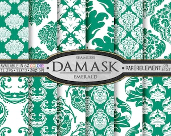 Emerald Green Damask Scrapbook Digital Paper Pack  - Printable Backdrops - Instant Download