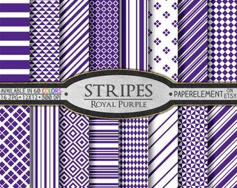 Royal Purple Stripe Digital Paper: Vertical, Nautical, Horizontal, Diagonal Stripe Paper - Purple and White Stripe Backgrounds with Diamonds
