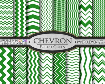 Forest Green Digital Chevron Paper Pack - Instant Download - Printable Paper with Chevron Pattern for Digital Scrapbooking